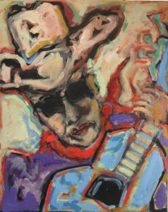 Self Portrait of the Artist with Red Bandana and Cubist Guitar by Tom Russell
