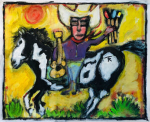 I Ride An Old Paint – Self Portrait of the Artist with Guitar and Paint Brushes