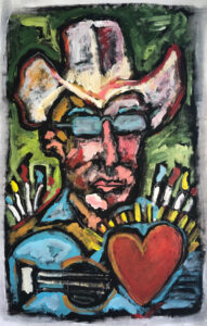 Self Portrait of the Artist with Hair Trigger Heart, Paint Brushes, and Guitar by Tom Russell